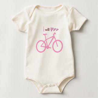Three hearts and pink mountain bike baby bodysuit