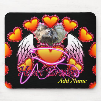 Three Hearts Angel Wings Heart Breaker sign. Mouse Pad