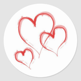 Three Hearts Classic Round Sticker
