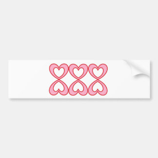 Three hearts in lucky number 8 style bumper sticker