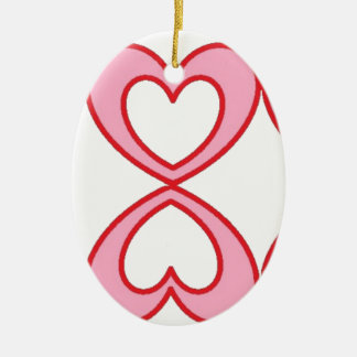 Three hearts in lucky number 8 style ceramic ornament