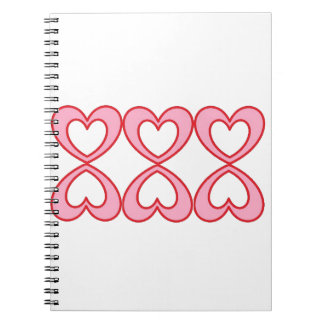 Three hearts in lucky number 8 style note book