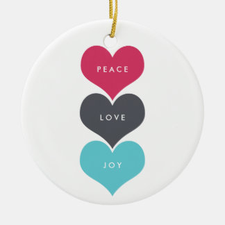 THREE HEARTS Double-Sided CERAMIC ROUND CHRISTMAS ORNAMENT