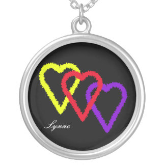 Three Hearts, Personalized Silver Plated Necklace