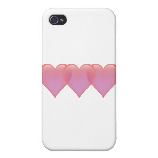 Three hearts - pink and purple iPhone 4/4S case