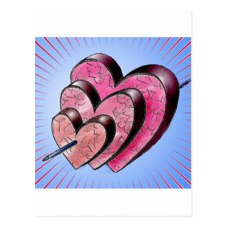 three hearts postcard