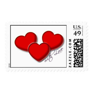 Three hearts with love stamp bridal