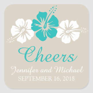 Three Hibiscus Flowers Wedding Square Sticker