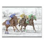 "Three Horse Race - Neck and Neck 4.25"" X 5.5"" Invitation Card"