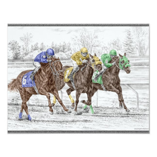 Three Horse Race - Neck and Neck 4.25x5.5 Paper Invitation Card