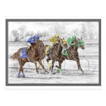 Three Horse Race - Neck and Neck Post Card