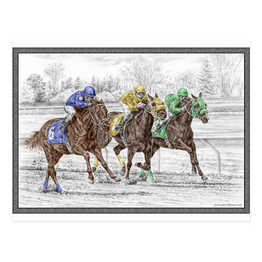 Three Horse Race - Neck and Neck Postcard