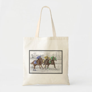 Three Horse Race - Neck and Neck Tote Bag