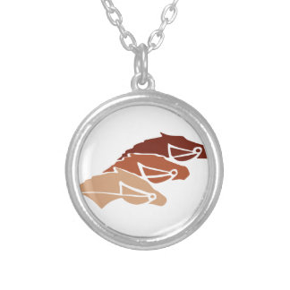 Three Horse Silhouettes Round Pendant Necklace