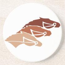 Three Horse Silhouettes Sandstone Coaster