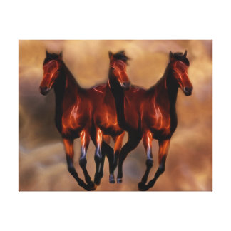 Three horses as one canvas print