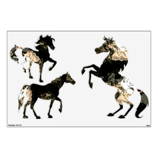 THREE HORSES DECALS WITH ABSTRACT PATTERNS
