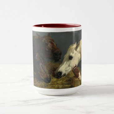 Three Horses Eating by John Frederick Herring Mug