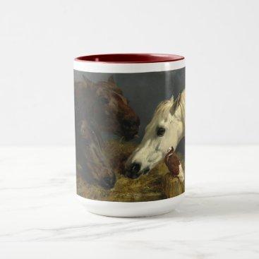 Coffee Themed Three Horses Eating by John Frederick Herring Mug