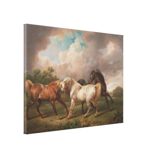 Three Horses in a Stormy Landscape Gallery Wrap Canvas