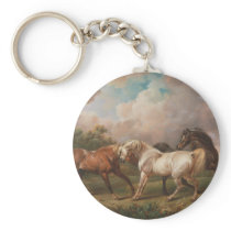 Three Horses in a Stormy Landscape Keychain