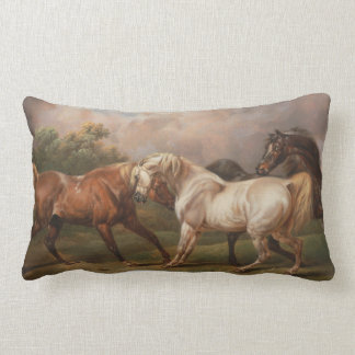 Three Horses in a Stormy Landscape Pillows