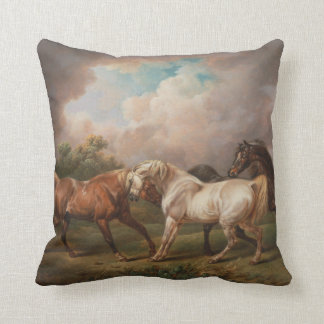 Three Horses in a Stormy Landscape Throw Pillows
