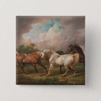 Three Horses in a Stormy Landscape Pinback Button