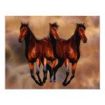 "Three horses in one 4.25"" x 5.5"" invitation card"