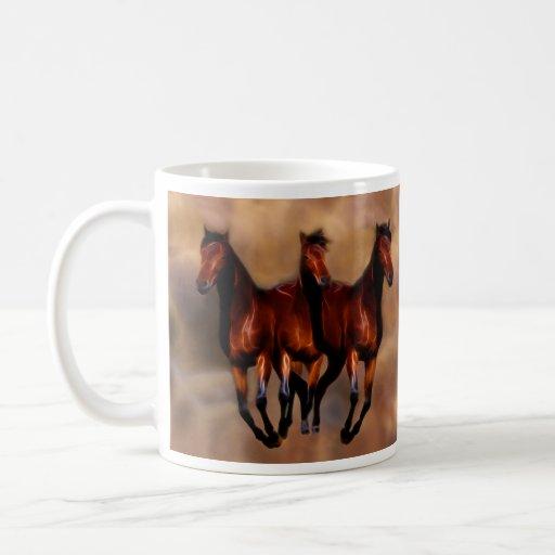 Three horses in one classic white coffee mug