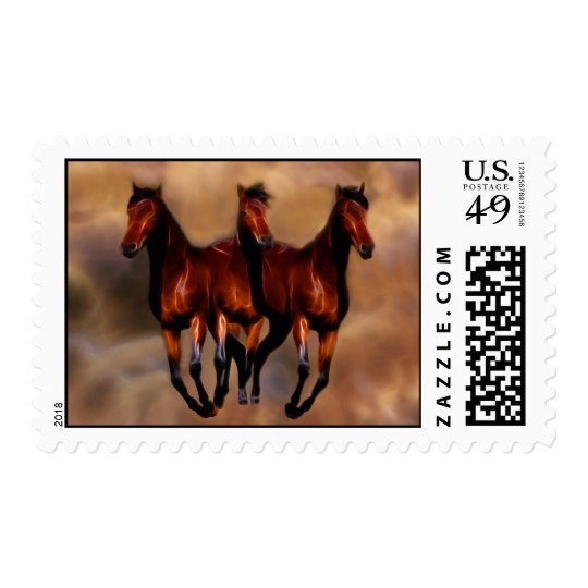 Three horses in one postage