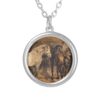 Three horses in their stable by Theodore Gericault Round Pendant Necklace