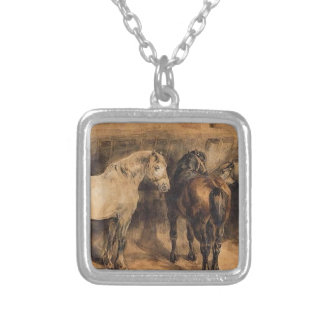 Three horses in their stable by Theodore Gericault Square Pendant Necklace