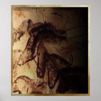 Three Horses of Lascaux Poster