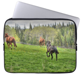 Three Horses Running on Fresh Grass in a Paddock Computer Sleeve