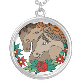 Three Horses Tattoo Art Silver Plated Necklace