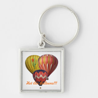 Three Hot Air Balloons Silver-Colored Square Keychain