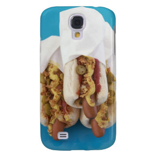 Three hot dogs in buns galaxy s4 case