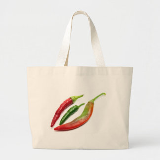 Three hot peppers large tote bag