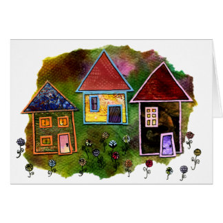 Three House Collage with Flowers Card