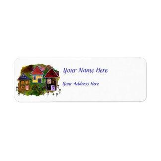 Three House Collage with Flowers Label