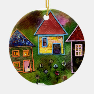 Three House Collage with Flowers Double-Sided Ceramic Round Christmas Ornament