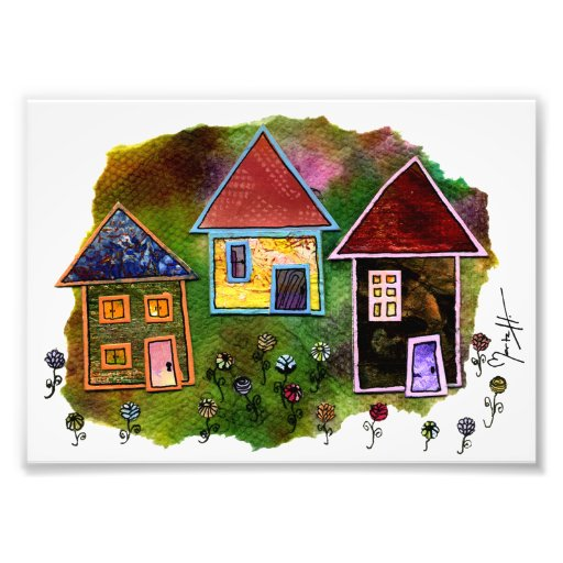 Three House Collage with Flowers Photo Print