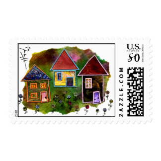 Three House Collage with Flowers Postage