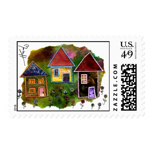 Three House Collage with Flowers Postage Stamp