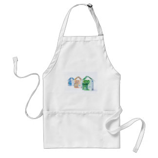 Three houses made of bank notes adult apron