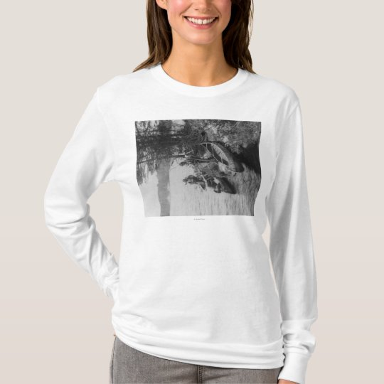 Three Hunters with Canoes at Shore Photograph T-Shirt