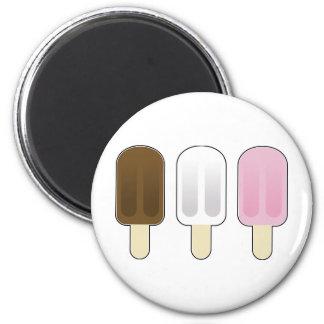 Three Ice Cream Bars Refrigerator Magnets