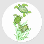 Three in a row sea turtle stickers