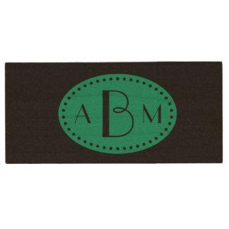Three Initial Monogram Emerald Green on Black Wood USB 2.0 Flash Drive